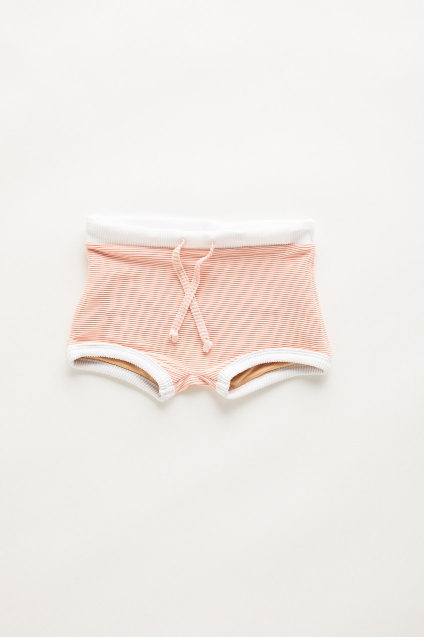 US stockist of Zulu & Zephyr Mini Band Rib Blush Pink Swim Shorts