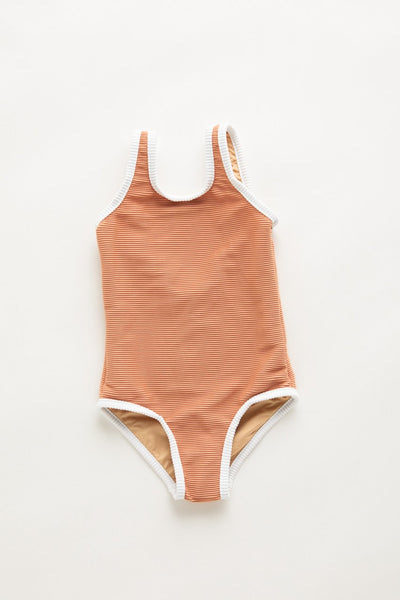 US stockist of Zulu & Zephyr girls terracotta rib one piece swimsuit