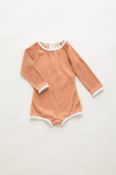 US stockist of Zulu & Zephyr Terracotta Mini Rib L/Slv Rashsuit