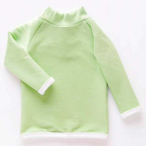US stockist of Zulu & Zephyr's Mini Band long sleeve rashie top in gender neutral marine.  Made from ECONYL; fully lined and with a zip back entry.  Features contrasting rib binds and is UPF 50+