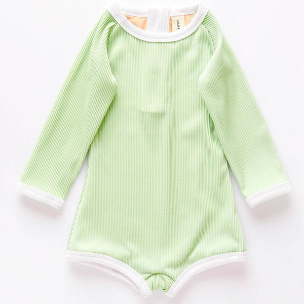 US stockist of Zulu & Zephyr's gender neutral, long sleeve mini rib rashie onesie in marine.  Sustainably made from econyl fabric, with a back Zip and fully lined.  UPF 50 fabric.