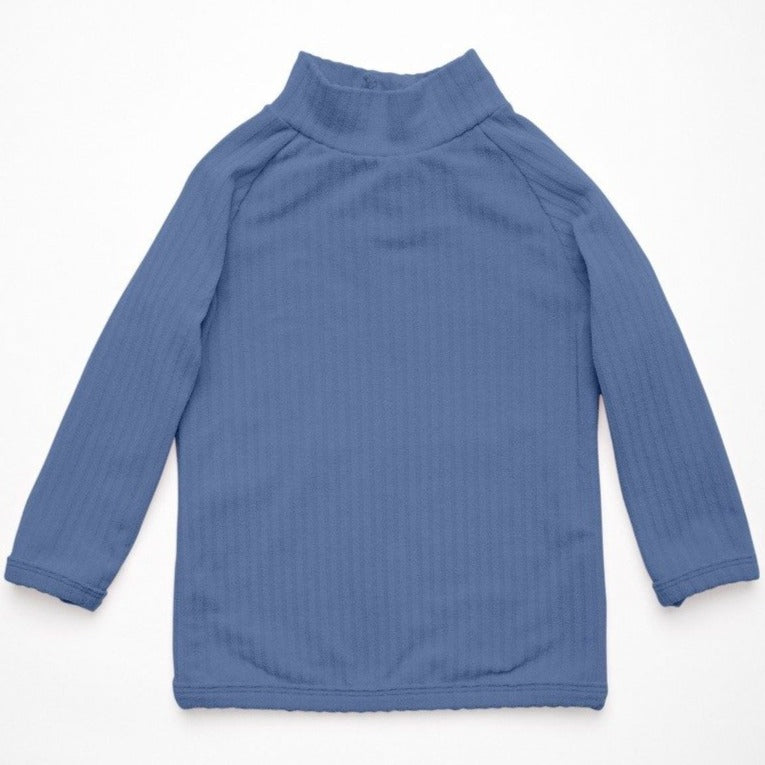 US stockist of Zulu & Zephyr's Mini Rib Long Sleeve, fully lined Rash Top in Blue.  Has half zip at back of neck.