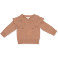 US stockist of Grown Clothing's Speckle Frill sweater in coral.  Made from extra fine merino wool with wooden flowers buttons at nape, frill around shoulder and raglan armholes.