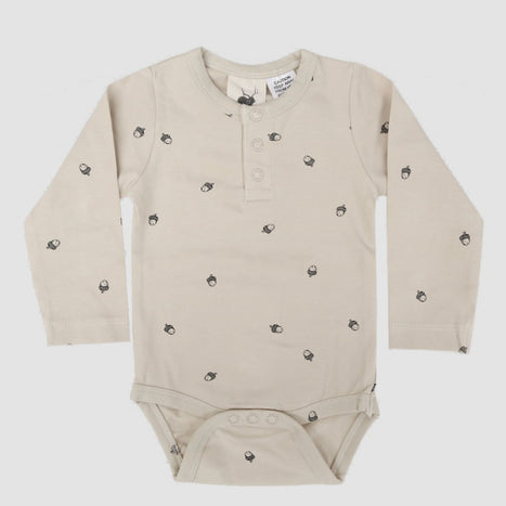 US stockist of Buck & Baa organic cotton Acorn henley bodysuit/onesie