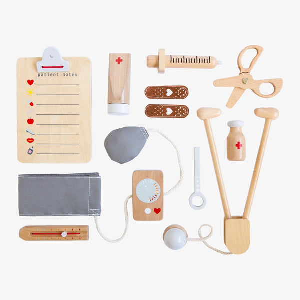 US stockist of Make Me Iconic's wooden toy doctor kit.  Contains 1 stethoscope, 1 blood pressure cuff, 1 syringe, 1 pair of scissors and more.