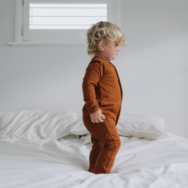 US stockist of Buck & Baa organic cotton full toffee romper