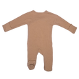 Stockist of Bonsie's rayon blend mocha footie.  Top section has velcro wrap body which can be undone for skin to skin contact.  Elastic waist that can be pulled down for easy diaper changes.