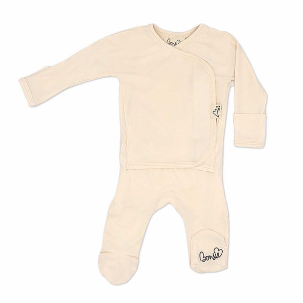 Stockist of Bonsie's rayon blend Oat footie.  Top section has velcro wrap body which can be undone for skin to skin contact.  Elastic waist that can be pulled down for easy diaper changes.