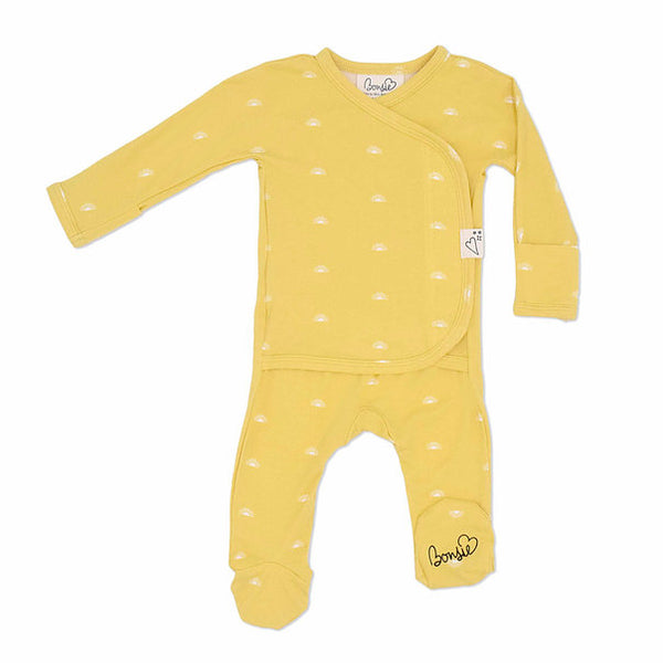 Stockist of Bonsie's rayon blend Sunrise yellow footie.  Top section has velcro wrap body which can be undone for skin to skin contact.  Elastic waist that can be pulled down for easy diaper changes.