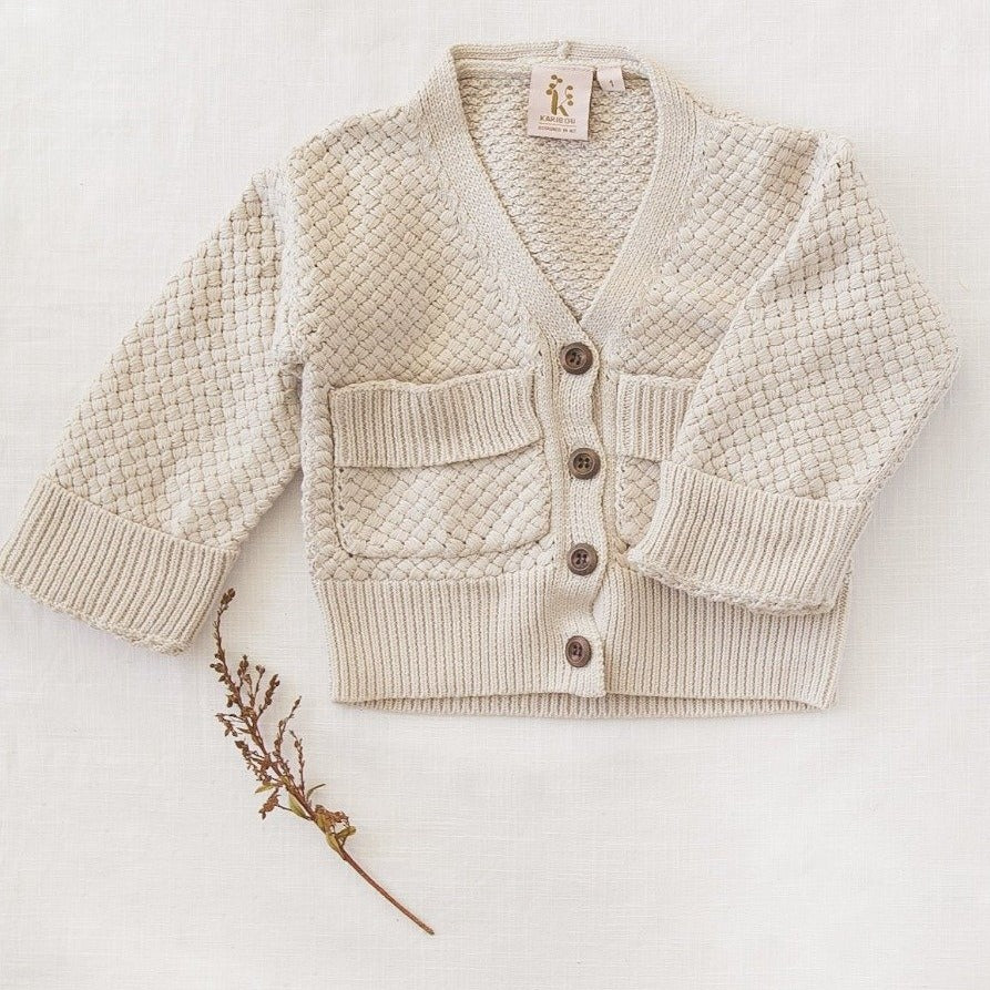 US stockist of Karibou Kids Natural Carter Cardigan
