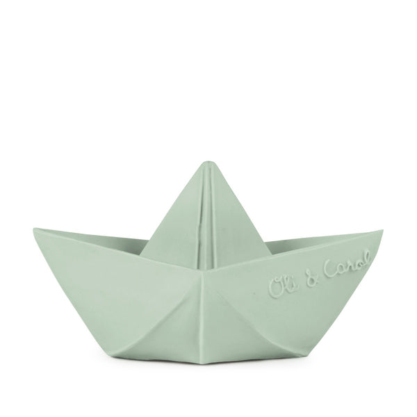 US stockist of Oli & Carol's natural rubber mint origami boat bath toy.