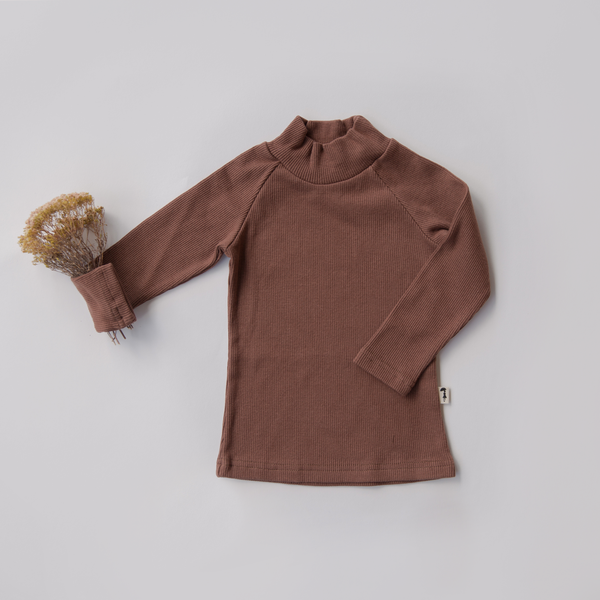 US stockist of Lacey Lane Long Sleeve Chestnut Brown Cotton Ribbed Turtleneck Top.