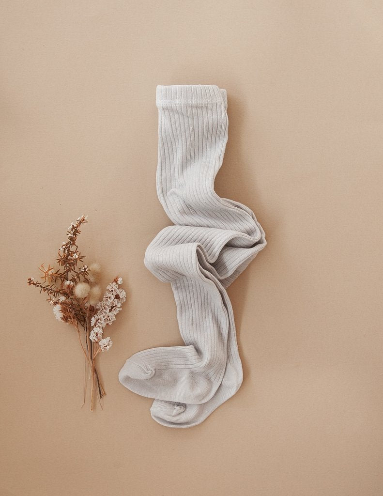 US stockist of Karibou Kid's gender neutral ribbed cotton tights in cloud