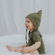 US stockist of Buck and Baa organic cotton fir green pixie bonnet