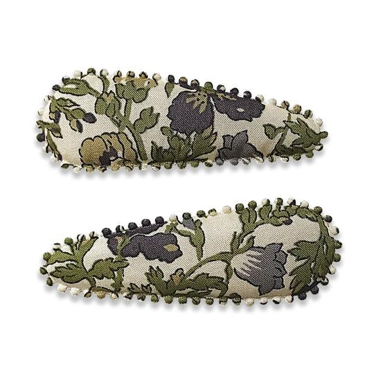 US stockist of Josie Joan's Melissa slide hair clip set. Cream fabric with purple flowers and olive foilage.