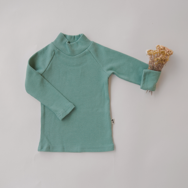 US stockist of Lacey Lane Long Sleeve Sea Green Cotton Ribbed Turtleneck Top.