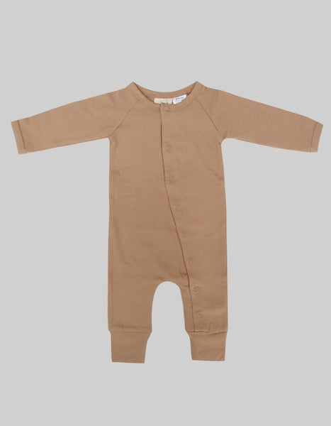 US stockist of Buck & Baa organic cotton hazelnut full romper