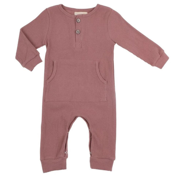 US stockist of Bonnie & Harlo dusty rust ribbed winter romper