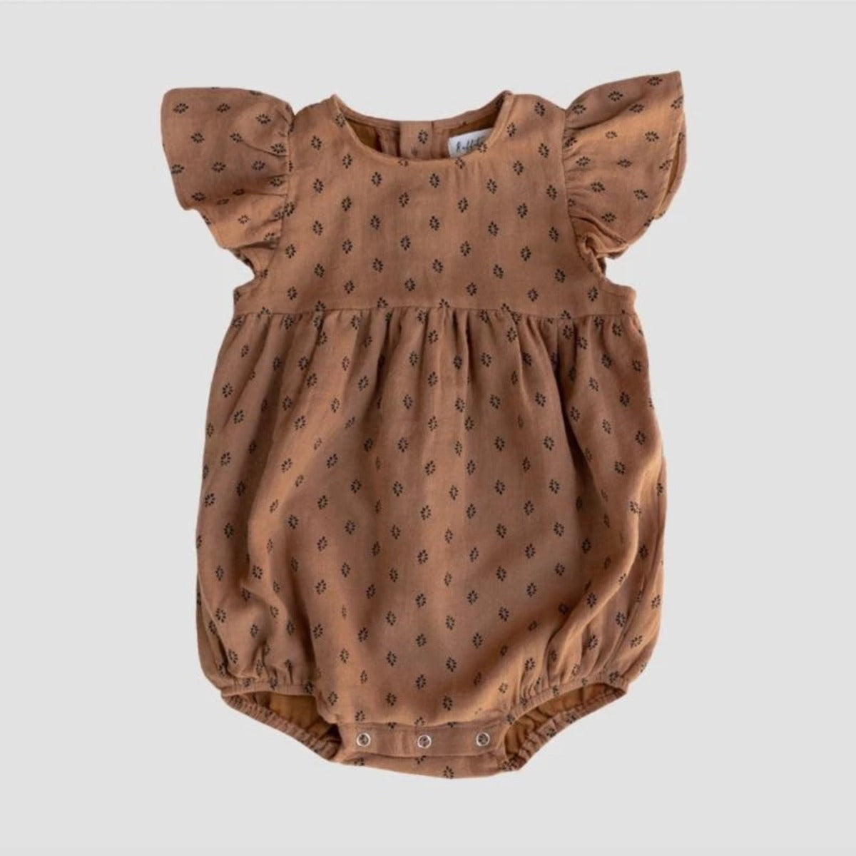 US stockist of Ruffets & Co bronze sugar dot Willow cotton romper.