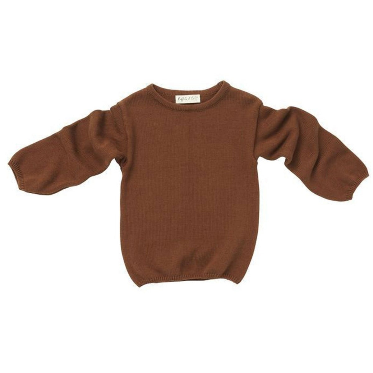 US stockist of Ruffets & Co cotton knit friar brown Kieron sweater