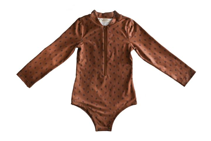 Maggie Long Sleeve Rashsuit - Bronze Sugar Dot