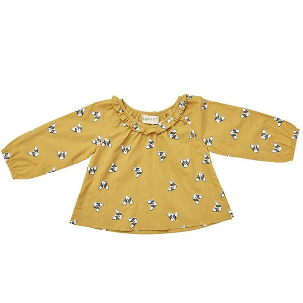 US stockist of Ruffets & Co mustard yellow French bulldog Pippa smock top