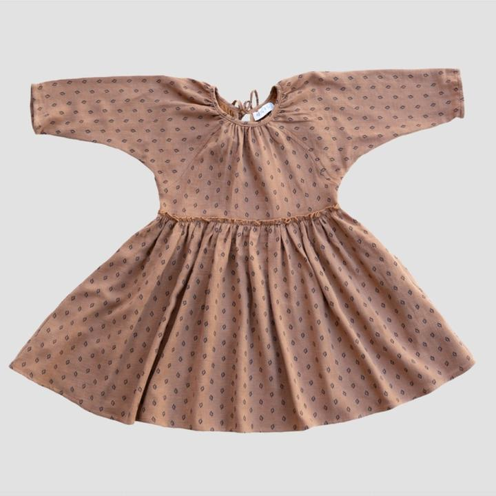 US stockist of Ruffets & Co sugar dot 3/4 sleeve bronze sugar dot dress.