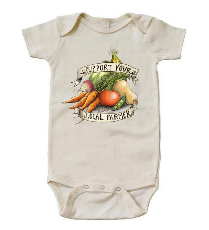 "Raising Tito cream organic cotton ""support your local farmer"" long sleeve bodysuit"