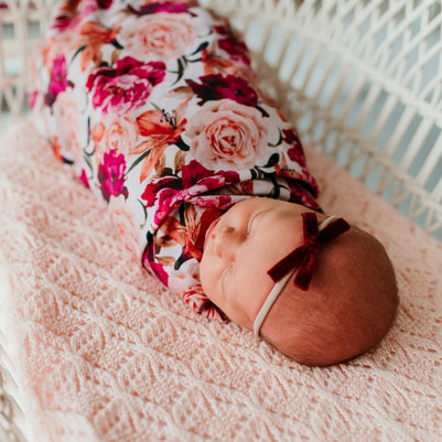 US stockist of Tilly & Otto Stretchy Swaddle and Greta Turban in Lottie Peonie Pink