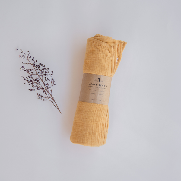 US stockist of Lacey Lane Sunshine Yellow Cotton Muslin Baby Wrap
