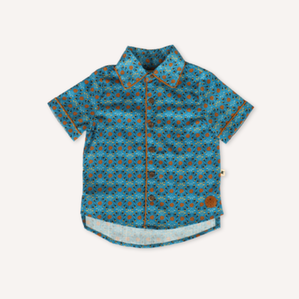 US stockist of My Brother John's short sleeve cotton Harrison oldtimer shirt.  Beautiful in house print on a blue background with brown piping on collar.