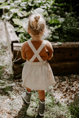 US stockist of Miann and Co's Natural Linen Pinafore Dress made from cotton and linen.  Adjustable straps.