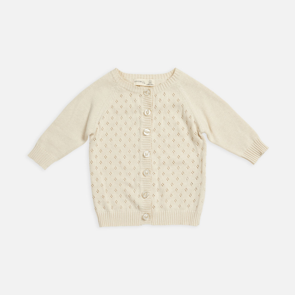 US stockist of Miann & Co's cotton knit cardigan in eggnog.