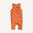 US stockist of My Brother John's Ziggy Stomper. Tank romper in a warm orange color with cozy fleece lining and rolled leg cuffs.  Great worn layered.
