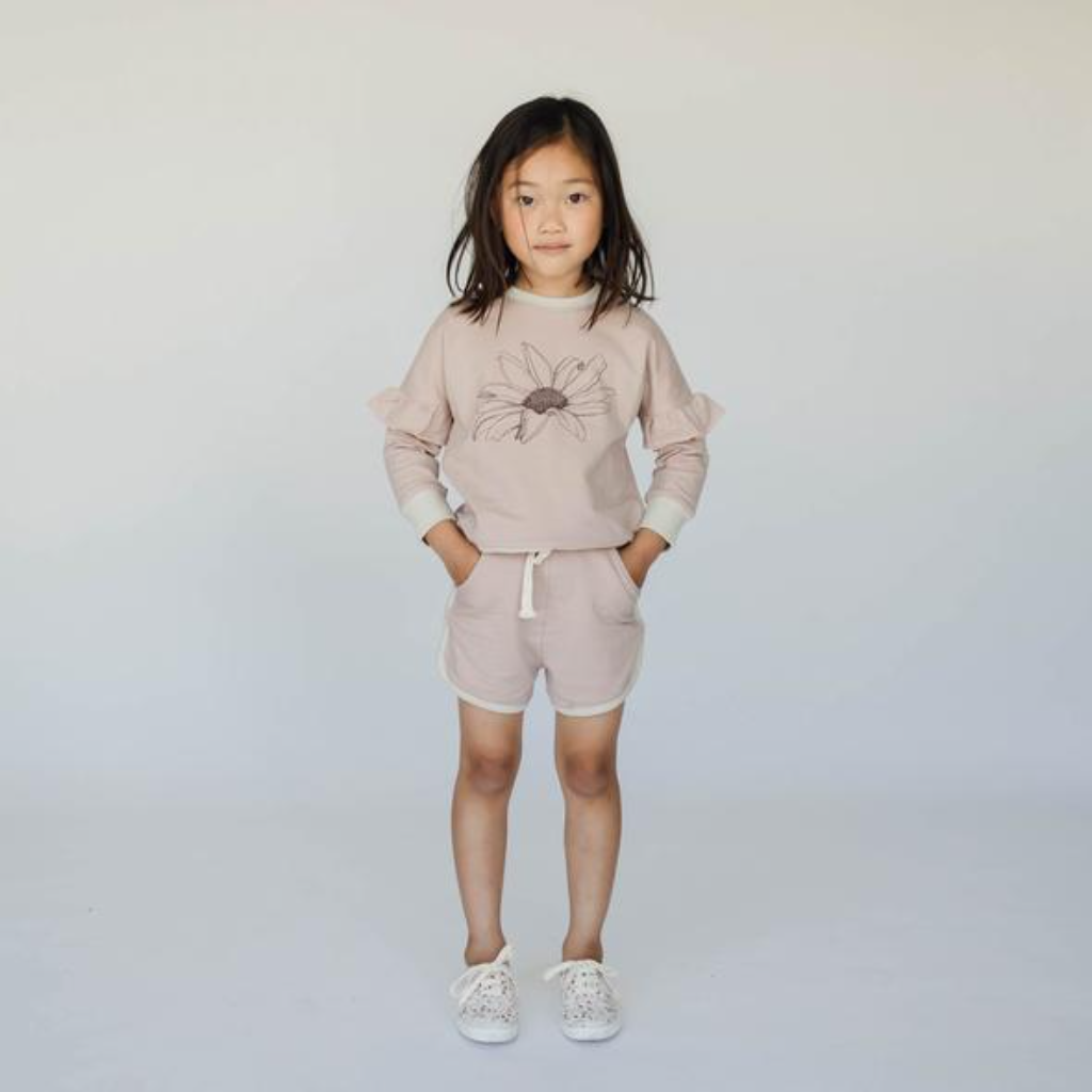 US stockist of Buck & Baa's Shadow pink shorts.  Made from organic terry cotton, with elastic waist, functional drawstring and pockets.