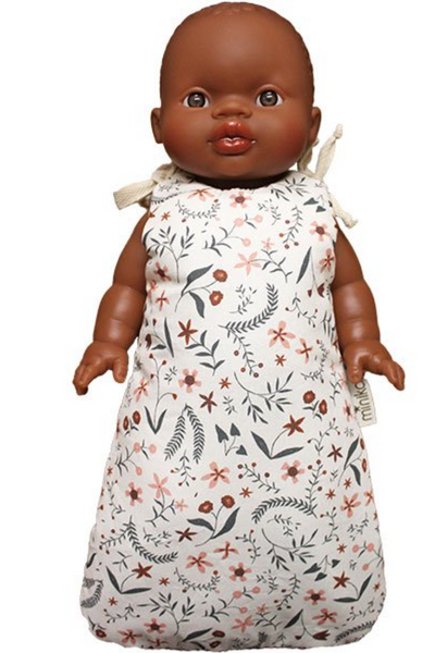 "US stockist of Minikane's Nina floral print doll sleep sack.  Made from an exclusive Minikane fabric in soft cotton.  Fits 13"" dolls and is made in France."