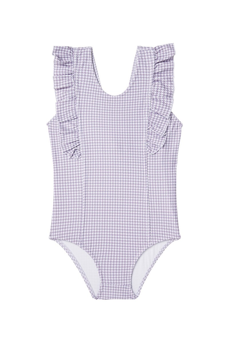 US stockist of Dot Dot Swim One Piece Frill in Lilac Houndstooth