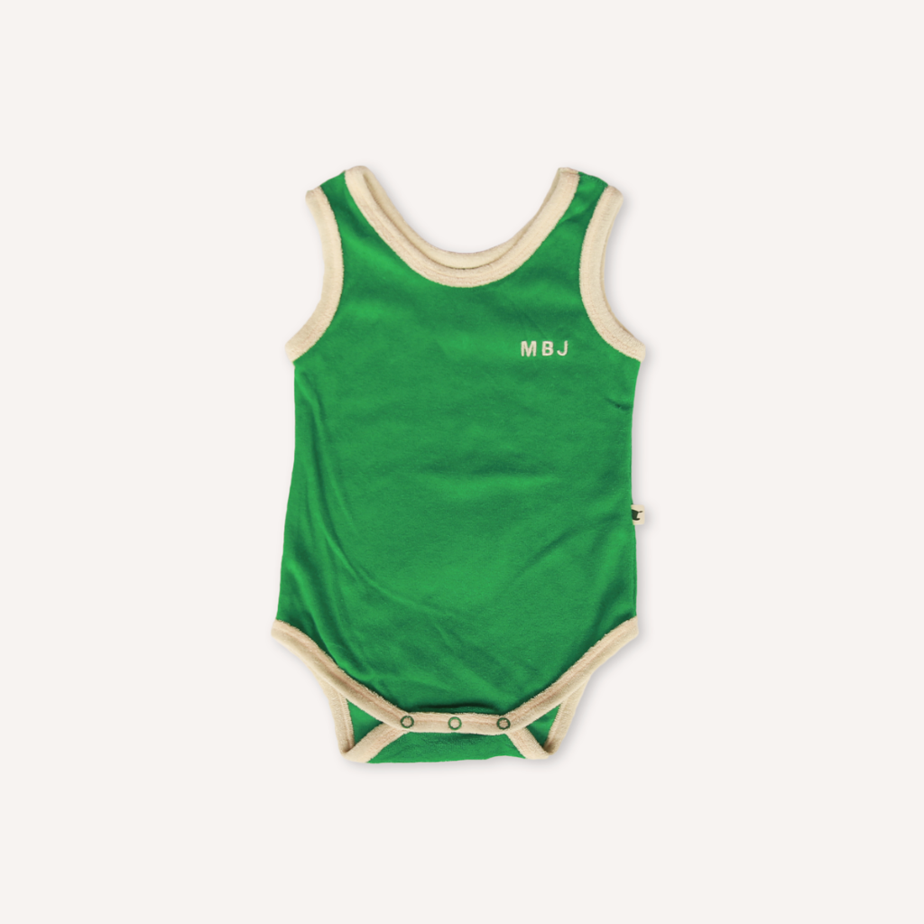 US stockist of My Brother John's emerald green terry towelling bodysuit.