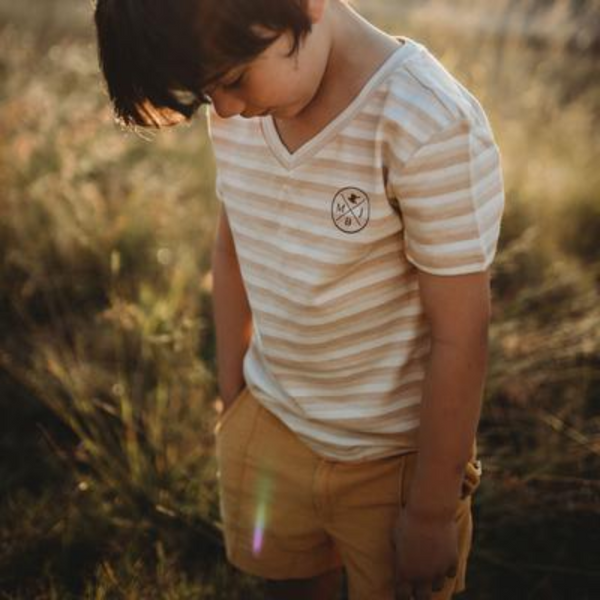 US stockist of My Brother John's V Neck Short Sleeve Felix T-Shirt.  Made from organic cotton in a lovely cream stripe