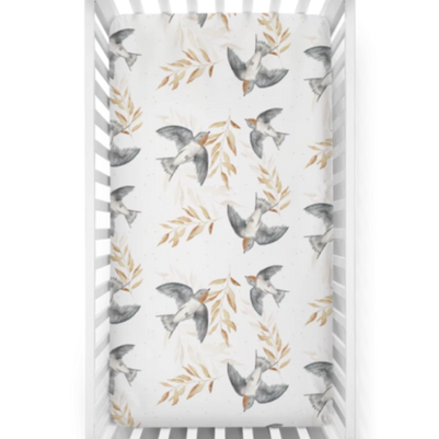 "US stockist of Piper Bug cotton jersey ""Shelley"" swallow print crib sheet."