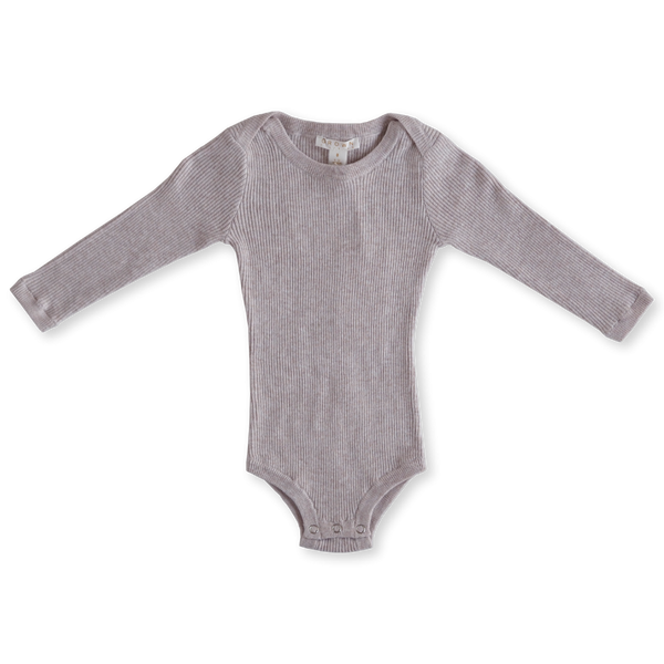 US stockist of Grown Clothing's long sleeve, ultra soft, lilac bodysuit.  Made from a thin rib, organic cotton fabric with snaps at crotch.