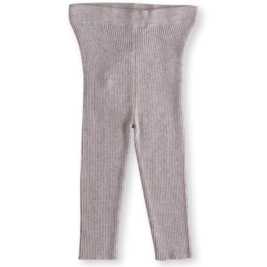 US stockist of Grown Clothing's soft, organic cotton thin ribbed legging with elastic waist, in a gorgeous subtle lilac hue.
