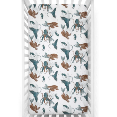 Cotton Jersey Crib Sheet - Kevin Sea Life Print