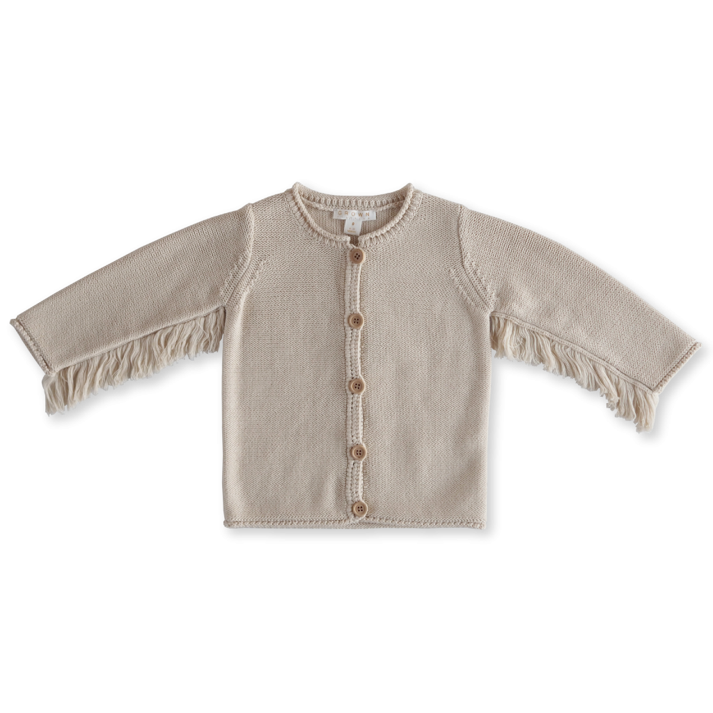 US stockist of Grown Clothing's organic cotton, gender neutral, pear knit cardigan, with fringe under the arms and wooden buttons down the front.