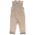 US stockist of Grown Clothing's organic cotton, sleeveless fawn nep speckle jumpsuit.  Gorgeous, subtle multi color fleck runs throughout the fabric.  Wooden buttons on the left shoulder and snaps along the legs.
