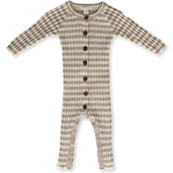 US stockist of Grown Clothing's gender neutral, organic cotton chunky rib knitted jumpsuit.  Has milk and fawn speckle stripe with wooden buttons down front and snaps along inside leg.