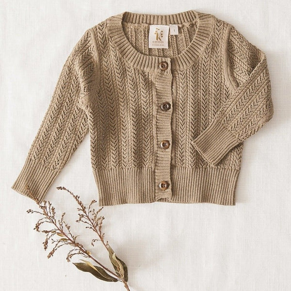 US stockist of Karibou Kids 100% cotton Penny cardigan in Pistachio.