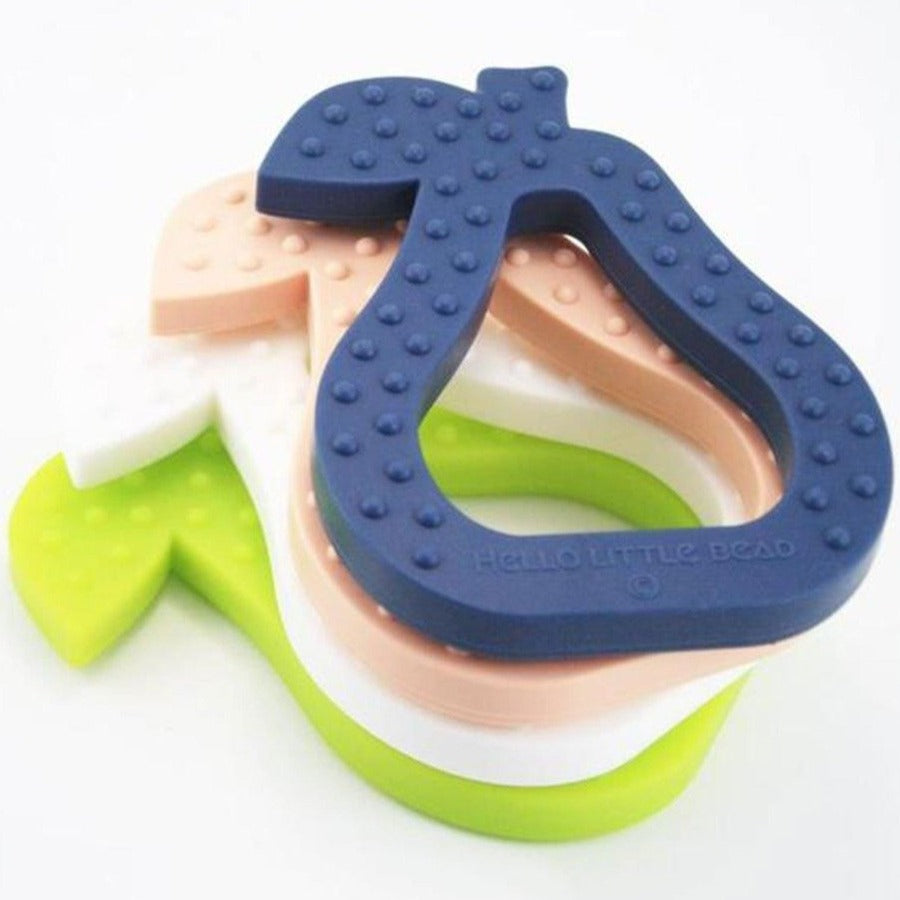 US stockist of Hello Little Bead navy silicone pear teether
