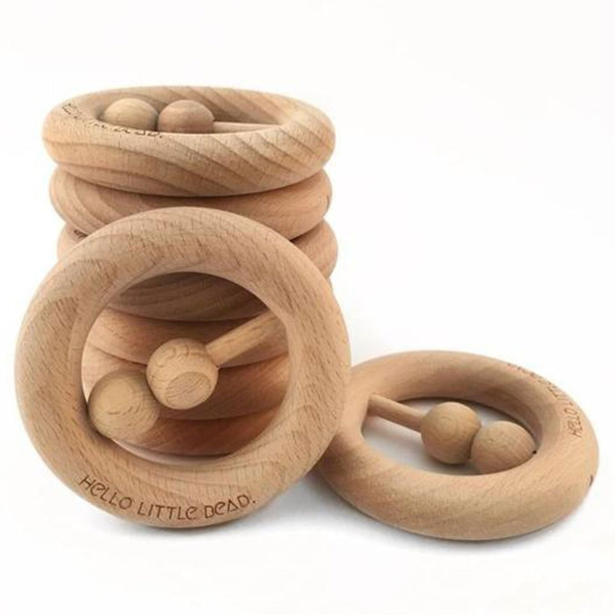 US stockist of Hello Little Bead RAW wooden rattle + teether