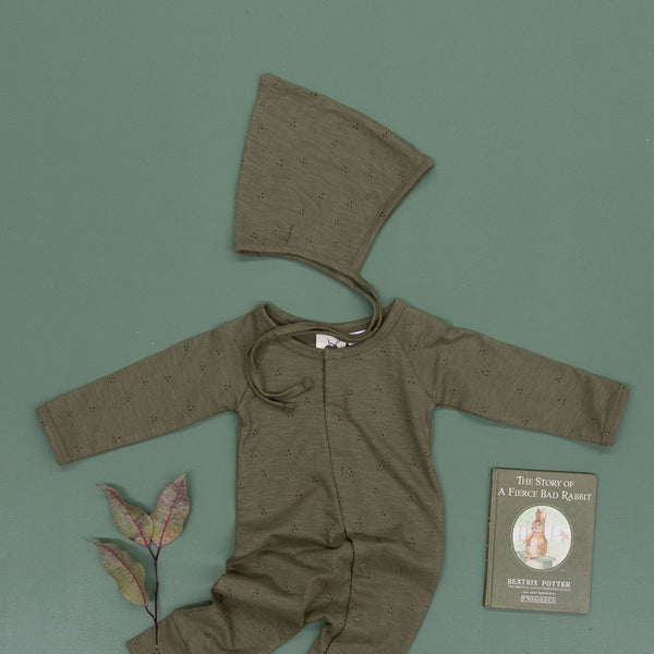 US stockist of Buck and Baa organic cotton full romper in fir green